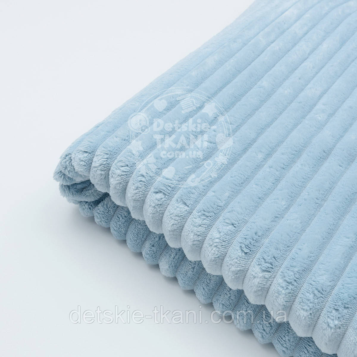 "Отрез плюша в полоску ""Stripes"" размером 100*80 см бледно-голубого цвета"