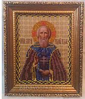 Икона Преподобного Чудотворца Се́ргия Ра́донежского, вышита бисером, 16х20 см, 350