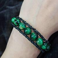 Браслет чан-лу с бусинами соколиный глаз диаметром 10 мм, длина около 18 см, цвет темно-зеленый