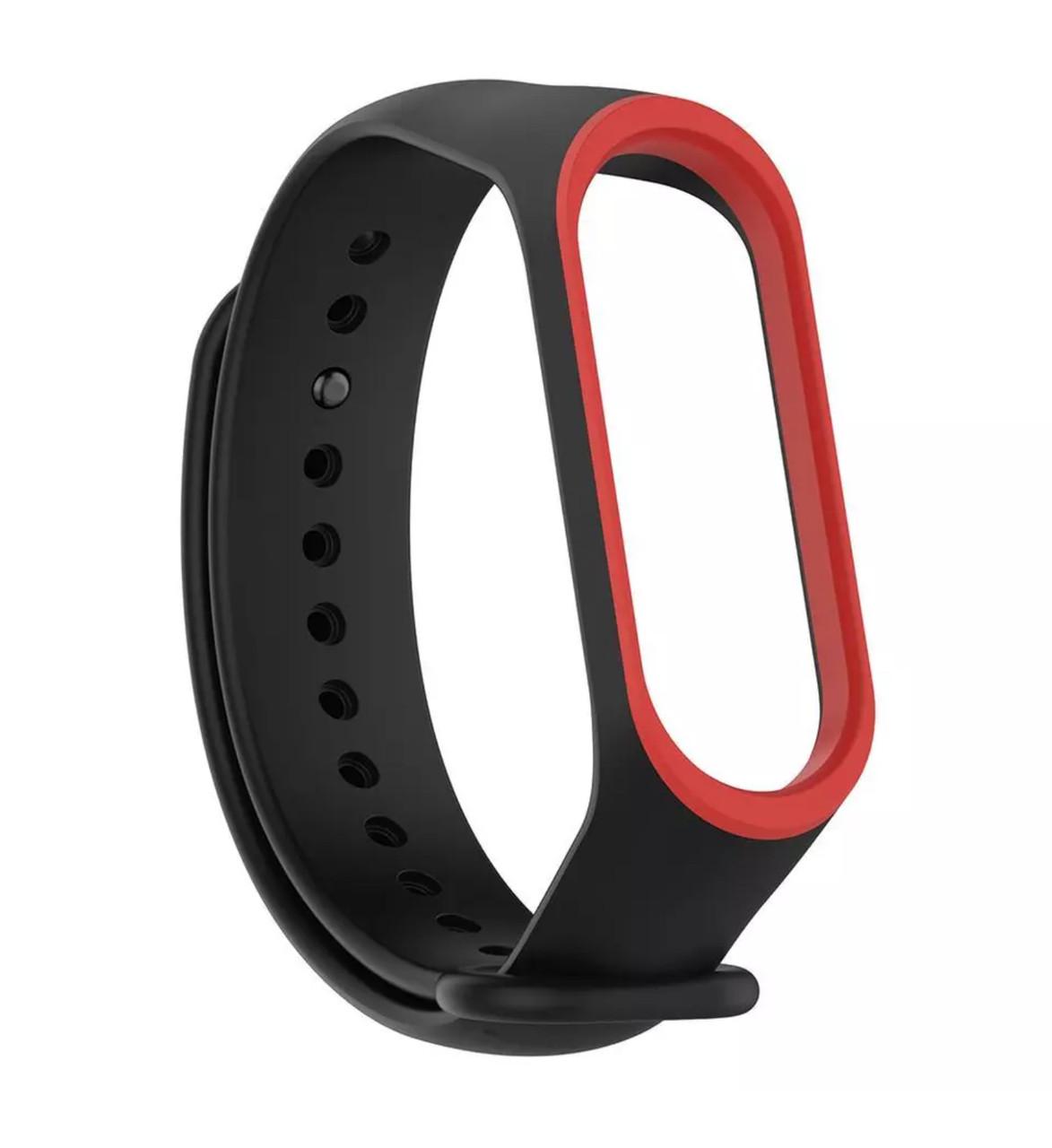 Ремешок для фитнес браслета, трекера Xiaomi Mi Band 3 (черно-красный)