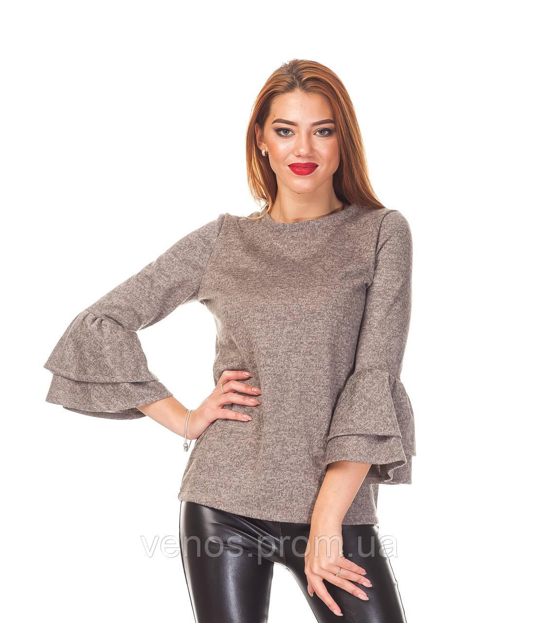 Модная женская кофточка с воланами на рукавах. К096