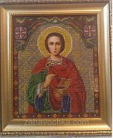 Икона Св.Целителя Пантелеймона (вышивка бисером) 25х28 см, 500