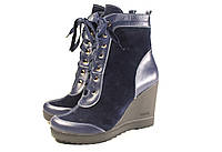 Синие замшевые ботинки на платформе, фото 1