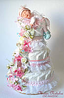 """Торт новонародженій дівчинці """"Рожеве чудо"""" з пупсом Анна Геддес. 80 штук"""