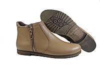 Кожаные женские ботинки без каблука, фото 1