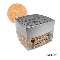 Гель с блестками для сверхпрочного наращивания ногтей J-GEL-22 (бежевый голографический), Lady Victory.
