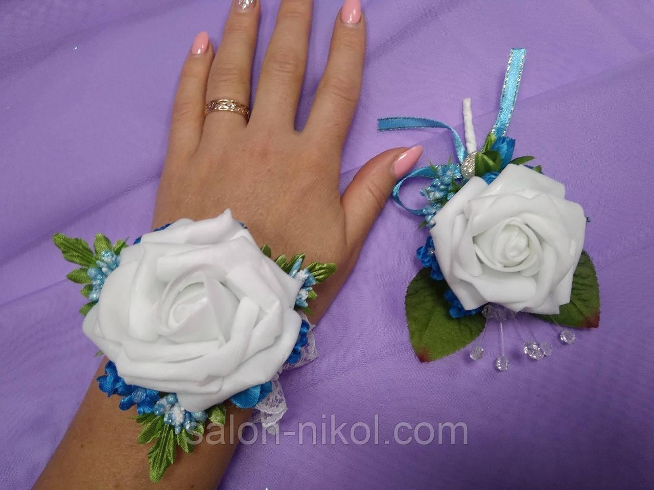 Свадебный набор бутоньерок для свидетелей голубой