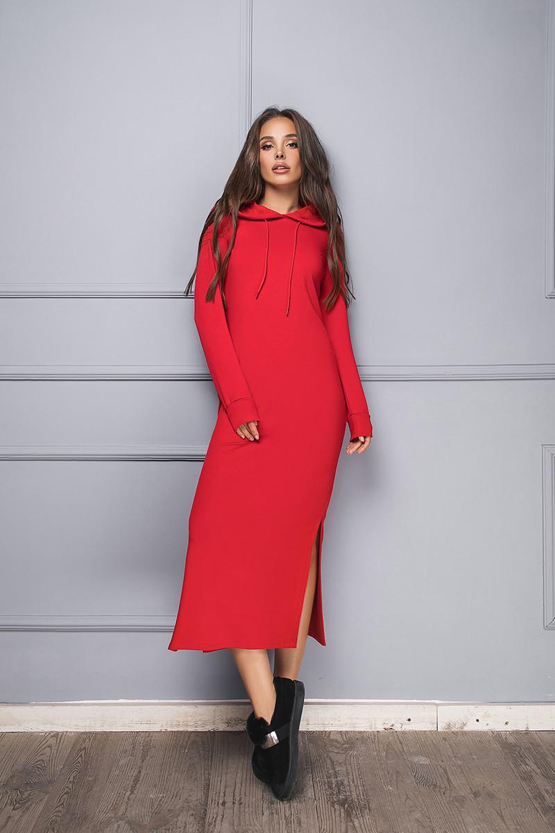 Платье женское с капюшономКрасный