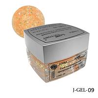 Гель с блестками для сверхпрочного наращивания ногтей J-GEL-09 (бежевый голографический), Lady Victory.