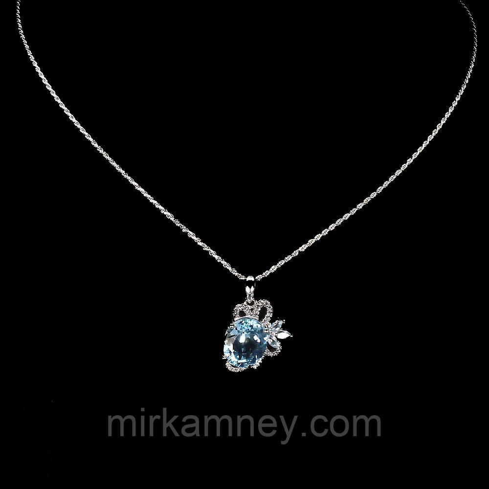 Крупная подвеска натуральный голубой топаз небесного цвета. Серебро, позолота + цепочка