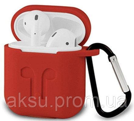 Чехол для AirPods silicone case logo Red с карабином