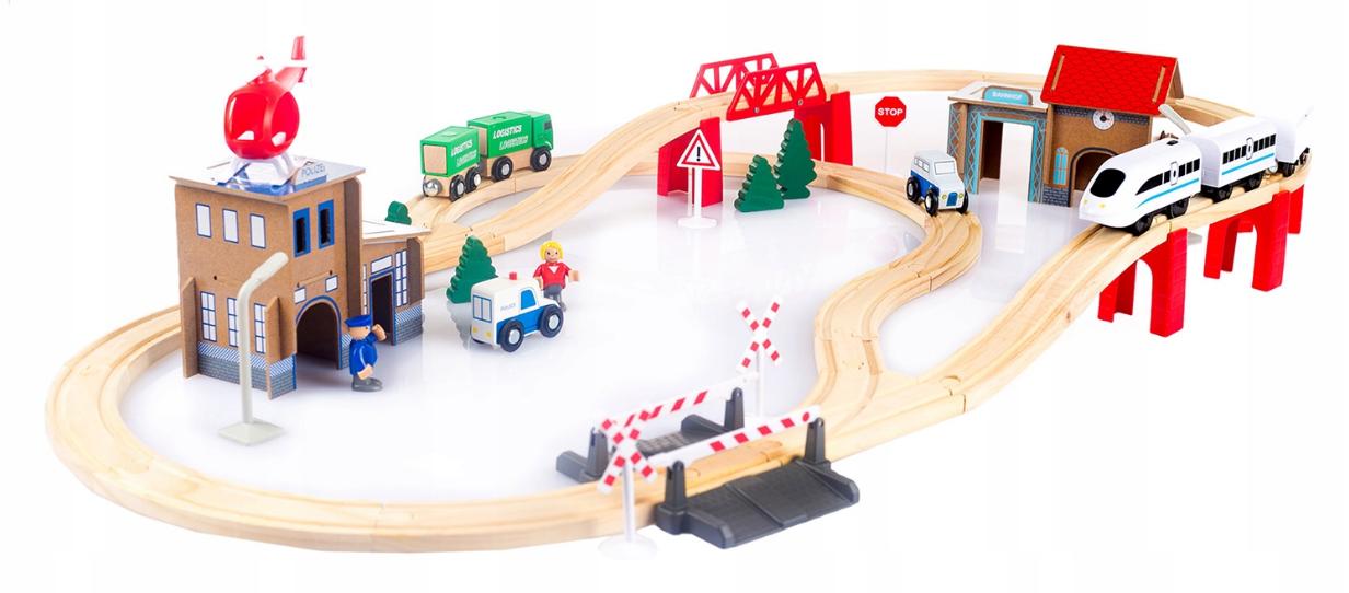 Деревянная железная дорога KinderplayGreen 80 элементов с полицейским участком
