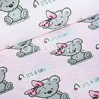 ✁ Отрезы поплина It's a girl! розовый фон, фото 1