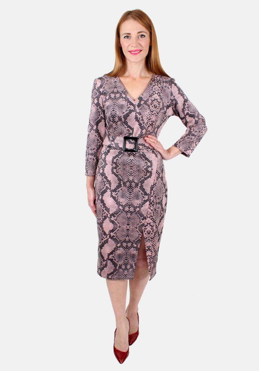 Платье миди с разрезом 44-50 р ( пудра, коричневый )