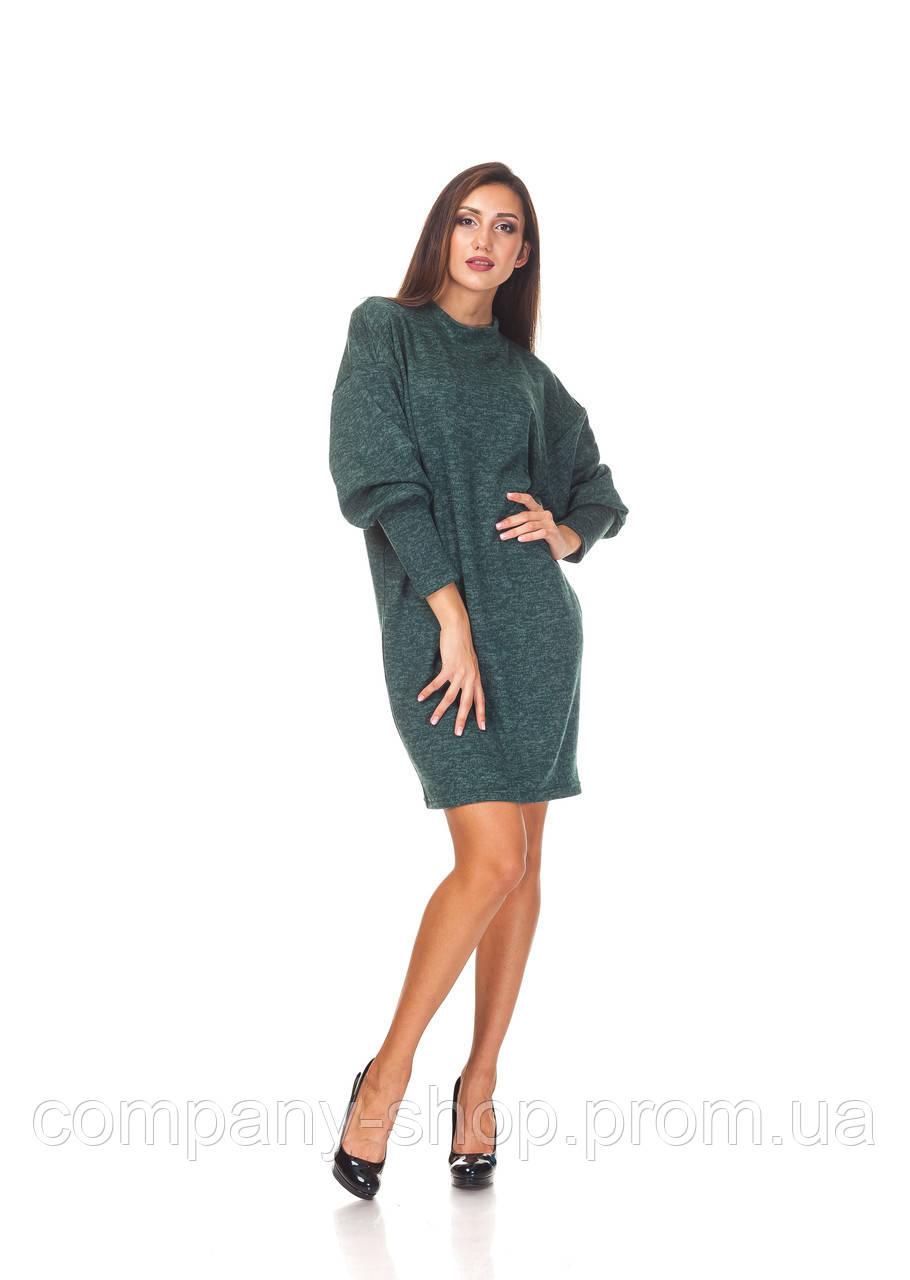 Теплое ангоровое платье опт. П093_зеленая ангора