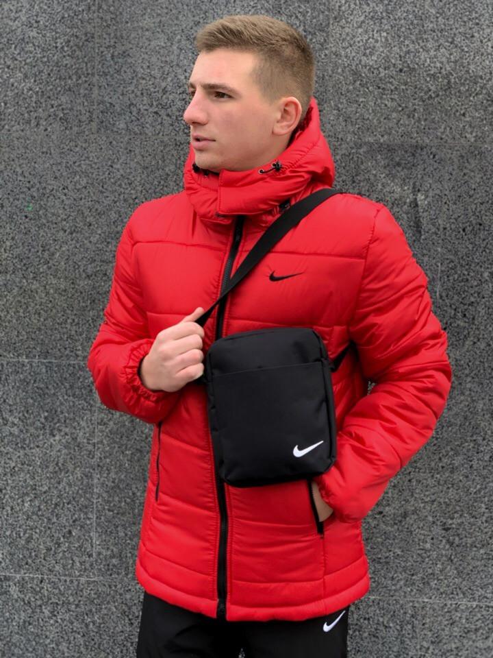 95979ea7 Зимняя красная мужская спортивная куртка Nike (Барсетка в подарок при  заказе комплекта!) -