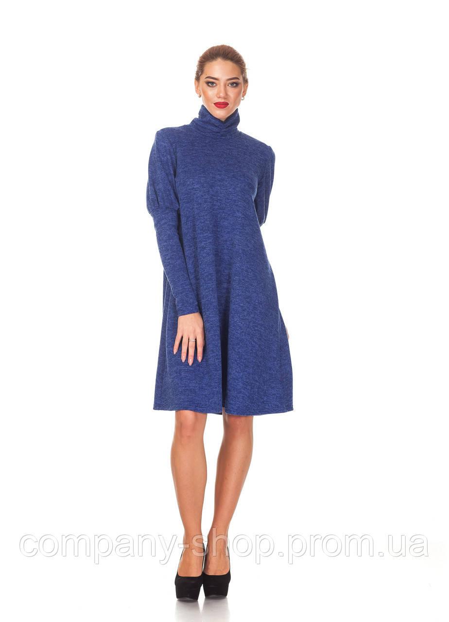 Женское теплое платье оптом. П099_синяя ангора