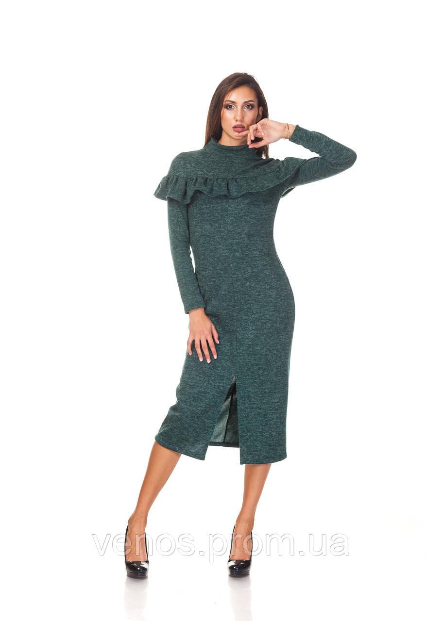 Теплое женское платье миди с рюшей .П103