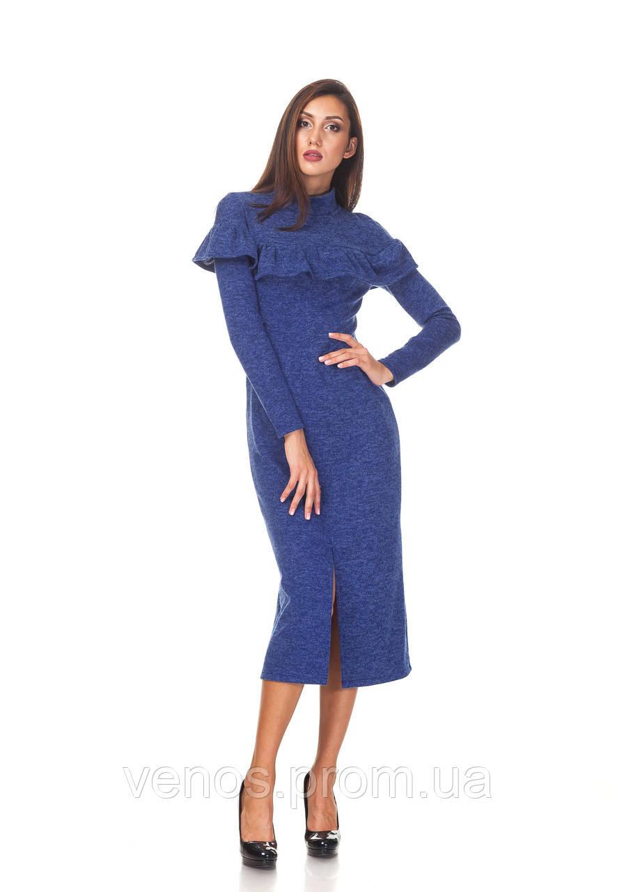 Теплое женское платье миди .П103
