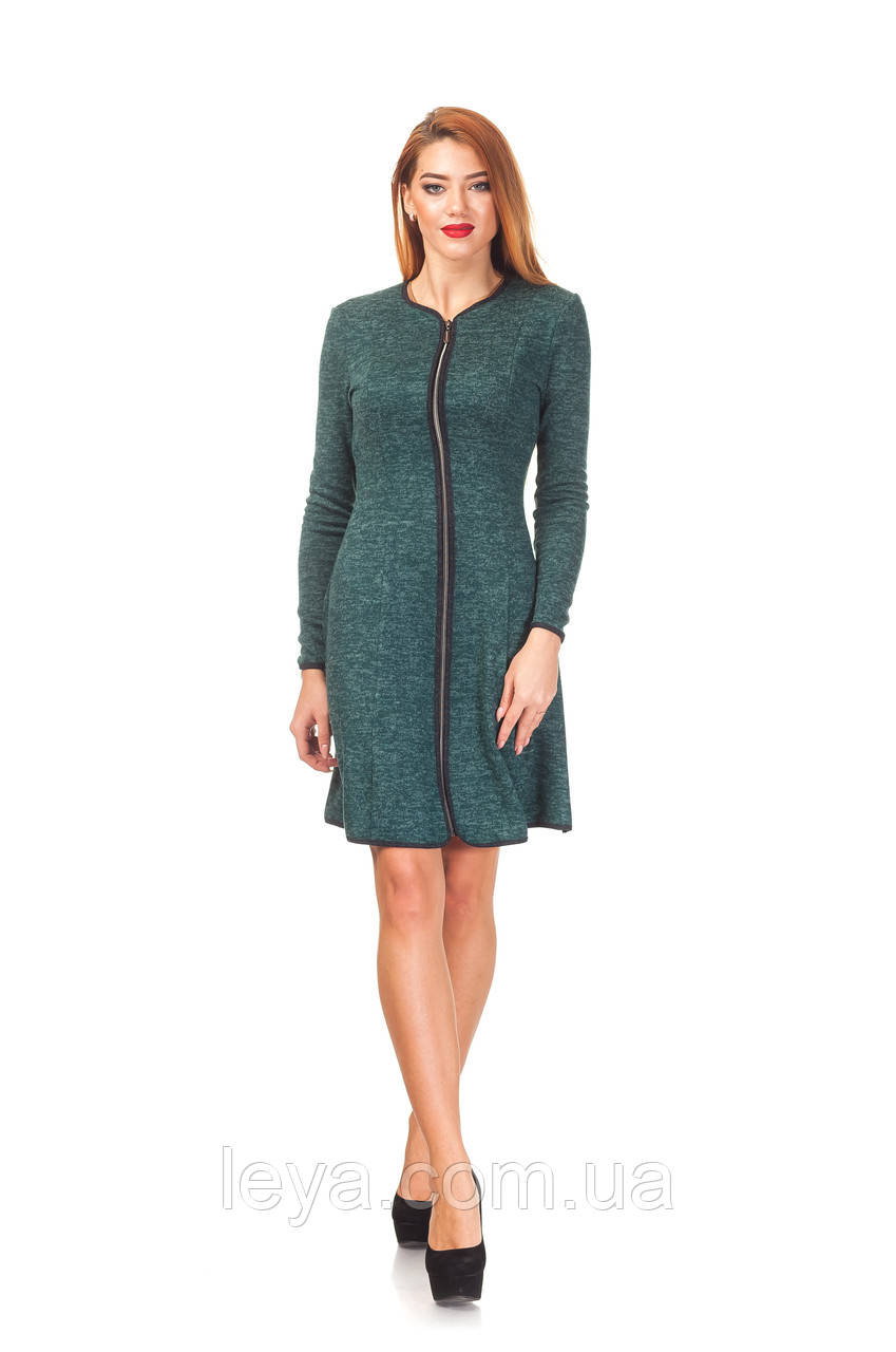 Женское платье с молнией оптом. П104_зеленая ангора