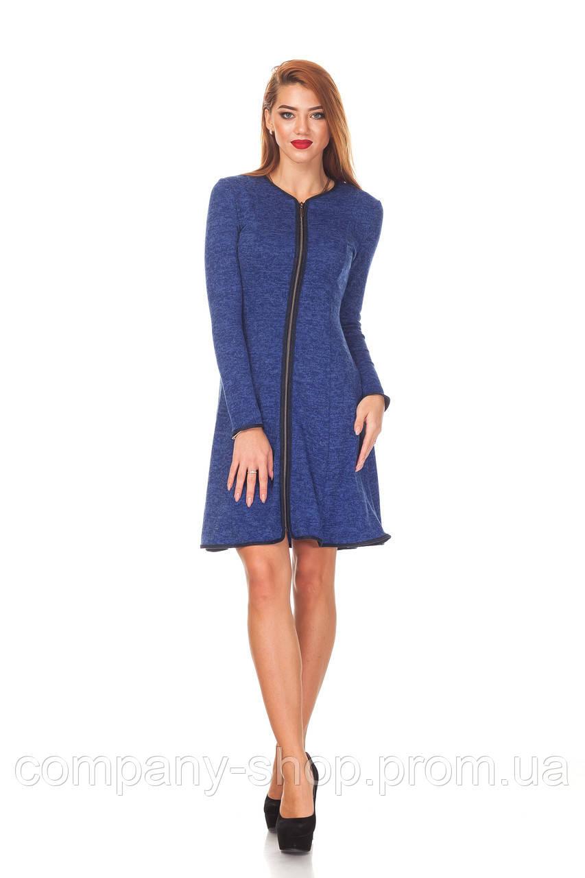 Платье с окантовкой оптом. П104_синяя ангора