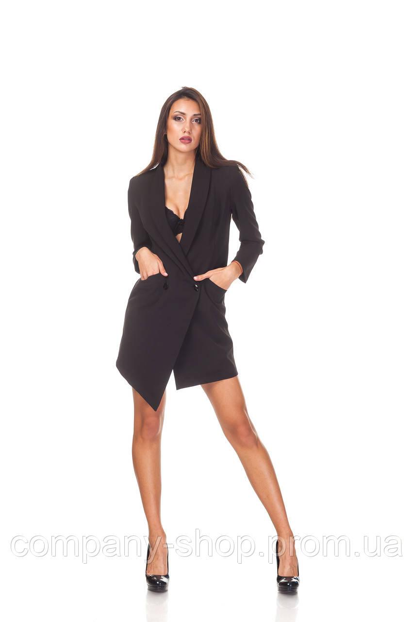 Ассимитричное платье-пиджак оптом. П130_черный креп