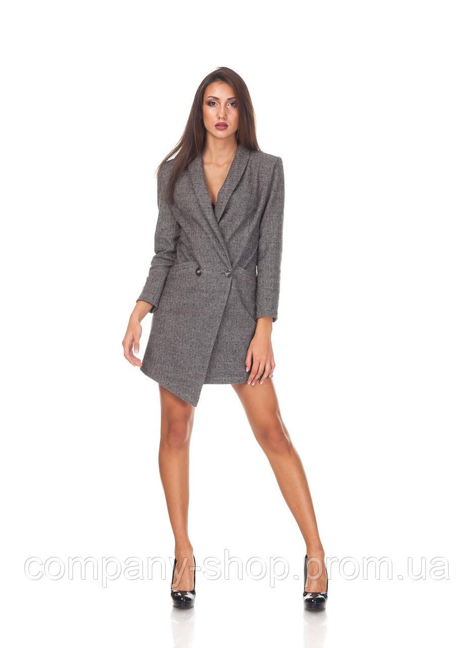 Платье-пиджак ассиметричное. П130_елочка шерсть