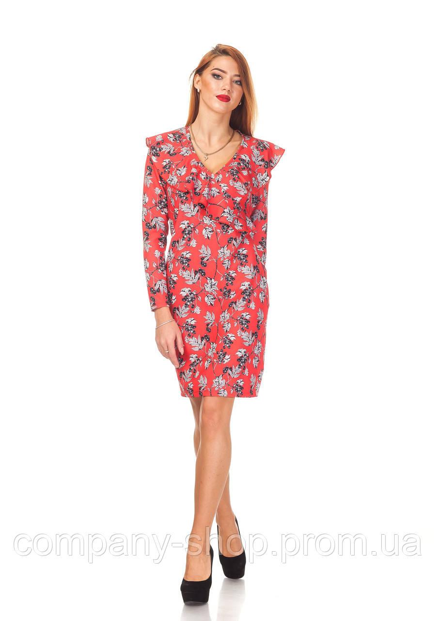 Платье с рюшей оптом. П131_красные ягоды