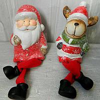 Новорічна статуетка Дід Мороз+олень з м'якими ногами 10,5 см Новогодняя статуэтка Дед Мороз