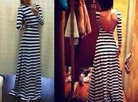 Платье в пол в полоску РК427