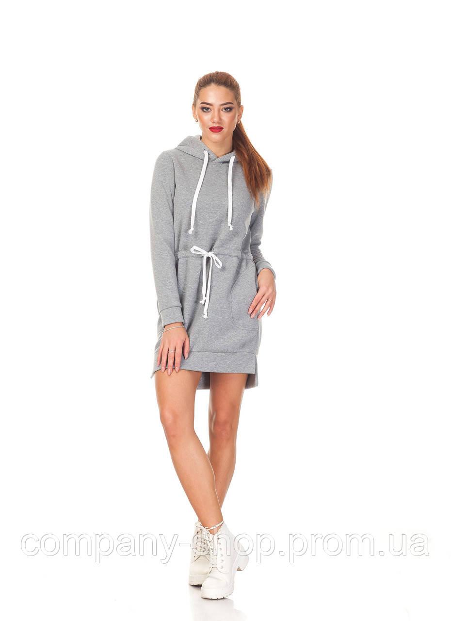 Спортивное платье-толстовка. П132_серый