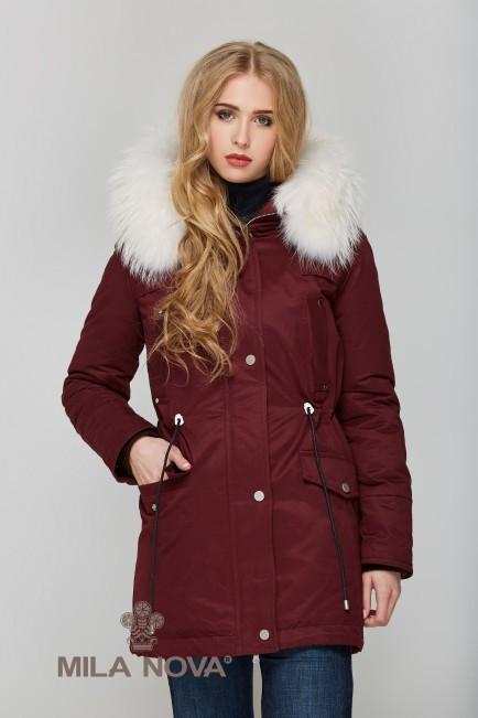 Зимняя Парки с мехом Бордовая