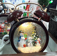 Новогодняя игрушка Часы со снегом