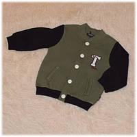 Кофта-бомбер теплая с начесом на кнопках детская для мальчика хаки Турция  размер 86 92 4bf49191df33a