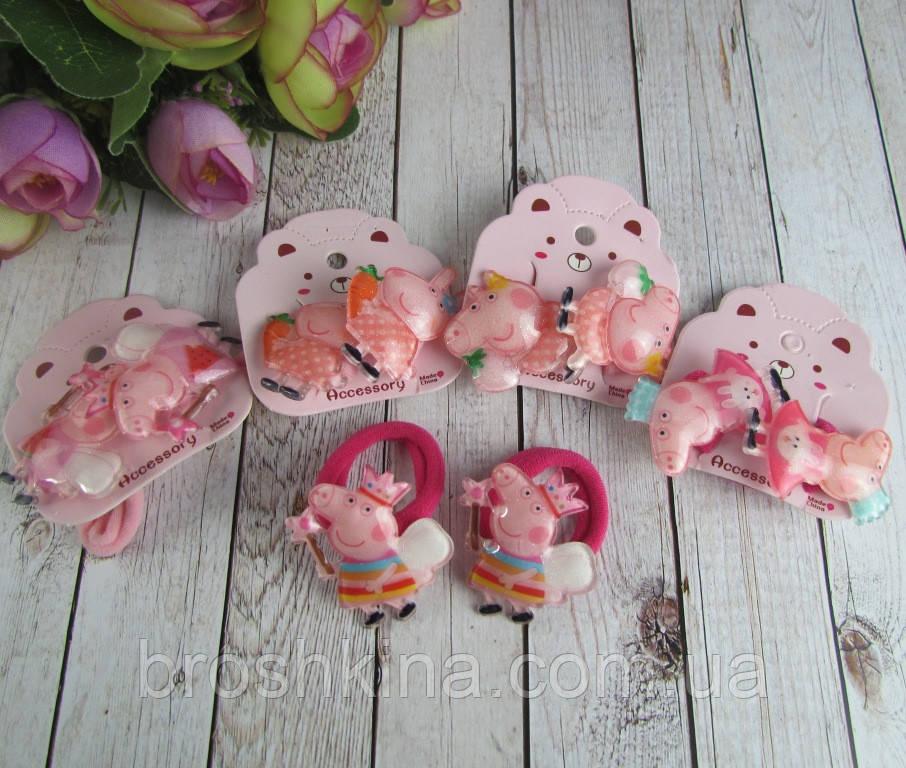 Детские резиночки для волос Свинка Пеппа 10 пар/уп