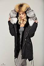 Зимняя Парки с мехом Черный, фото 3