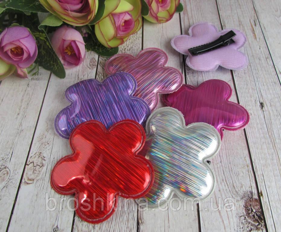 Заколки для волос Цветочки голограмма 10 шт/уп