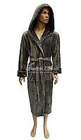 Оливковый теплый мужской халат с капюшоном Nusa NS-2740