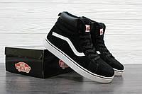 Мужские зимние ботинки  Vans высокие черные, Материал : замша