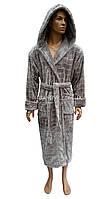 Светло-серый теплый мужской халат с капюшоном Nusa NS-2740