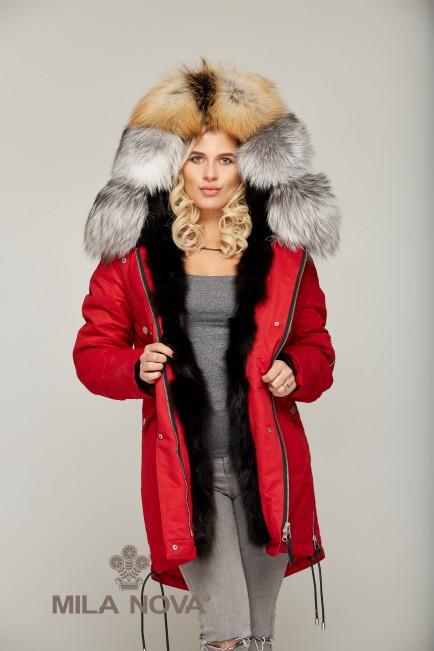 Зимняя Парки с мехом Красный