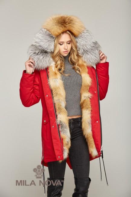 Зимняя Парка с мехом КРАСНЫЙ GOLD FOX