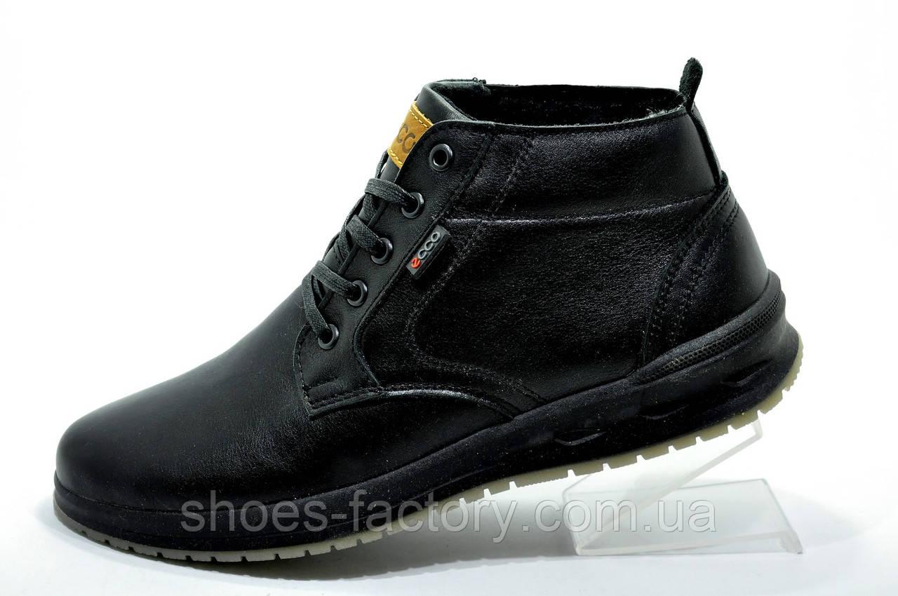 Кожаные ботинки в стиле Ecco, Зимние