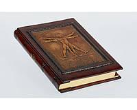 Дневник кожаный Florentia Витрувианский Человек 15 x 22 см, в линию, кремовая бумага, золотой срез