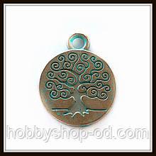 """Метал. подвеска """"Дерево"""" бронза с патиной (1,9х1,5 см) 8 шт в уп."""