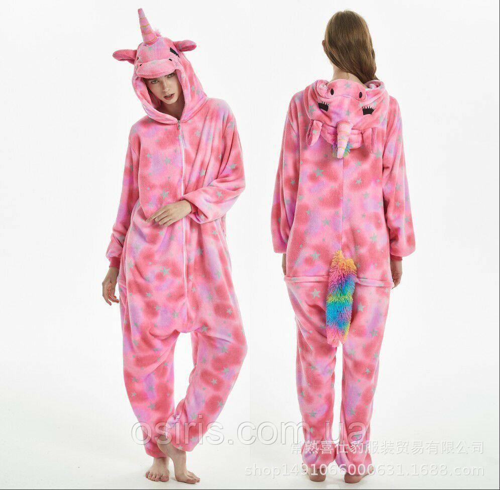 Пижама Кигуруми Единорог розовый в звездочку S (на рост 147-157 ... e29b4d98c562f