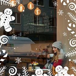 Новогодний декор витрины ресторана или  кафе Пряничный узор