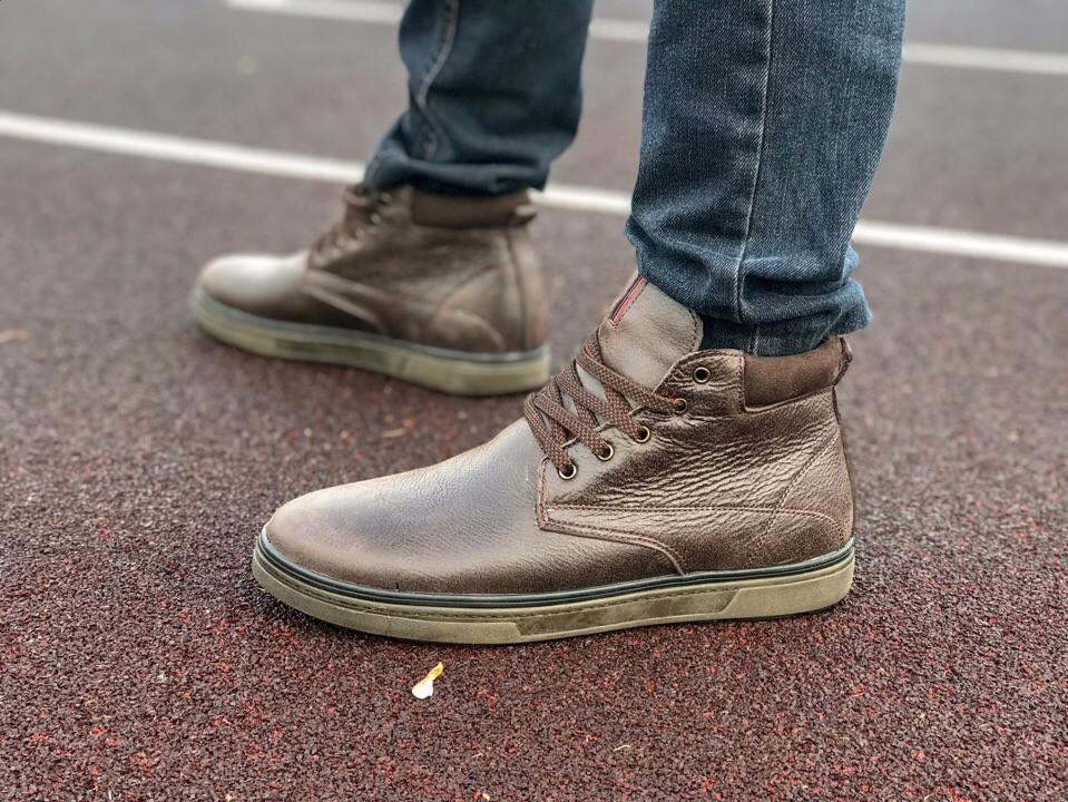 Мужские кожаные английские ботинки на меху коричневые