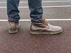 Мужские кожаные английские ботинки на меху коричневые, фото 3