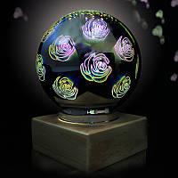 3D светильник шар с деревянной основой Ball Shape Colorful 3D Fireworks